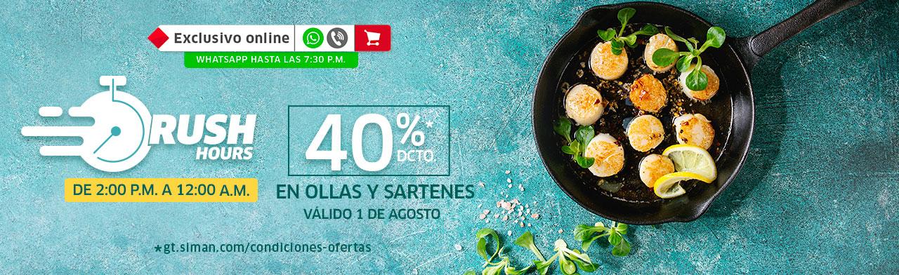 RUSH HOUR 40% de descuento en ollas y sartenes