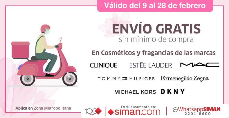 Envio gratis por compras de cosméticos y fragancias Clinique, Estee Lauder, Mac, Tommy Hilfiger, Ermenegildo Zegna, Michael Kors, DKNY