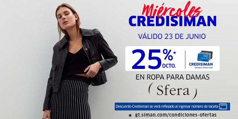 Miercoles Credisiman 25% de descuento en ropa para dama Sfera